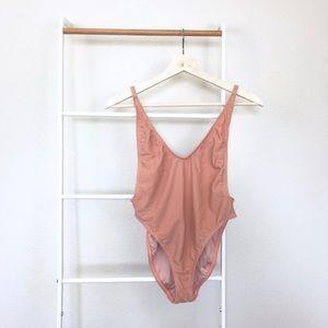NEW Nasty Gal Alina Blush Ribbed Cheeky Swimsuit